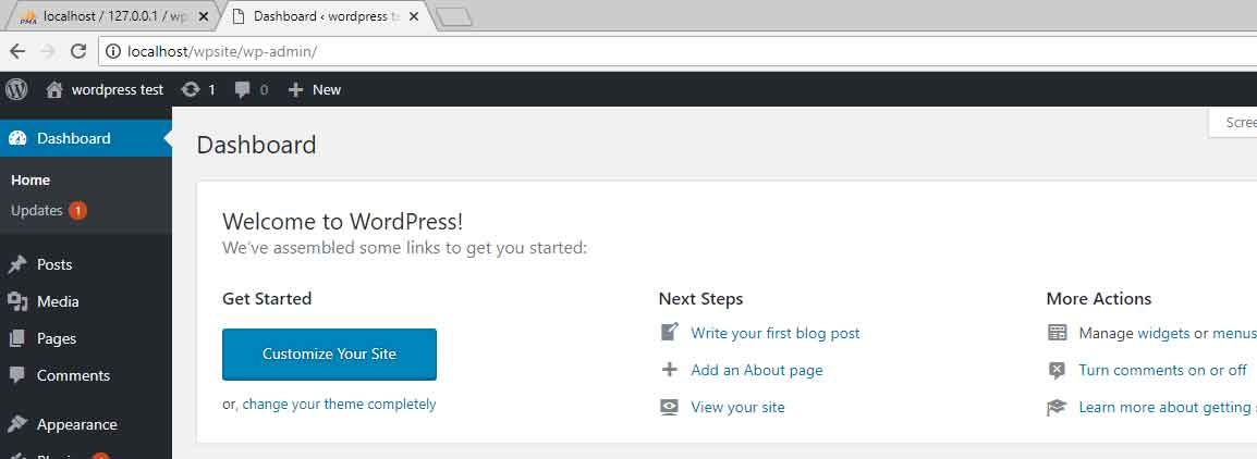 wordpress on xampp