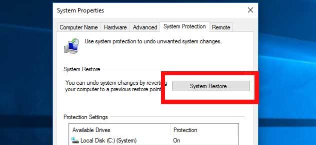 restore points in windows 10