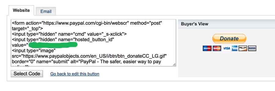 donate button for your website