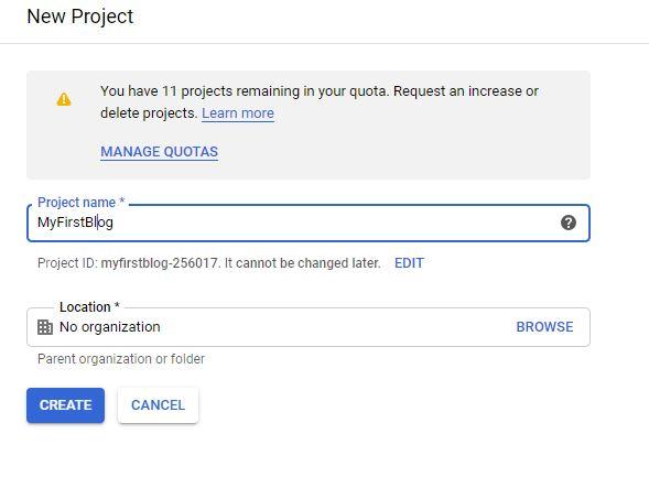 create new google cloud project
