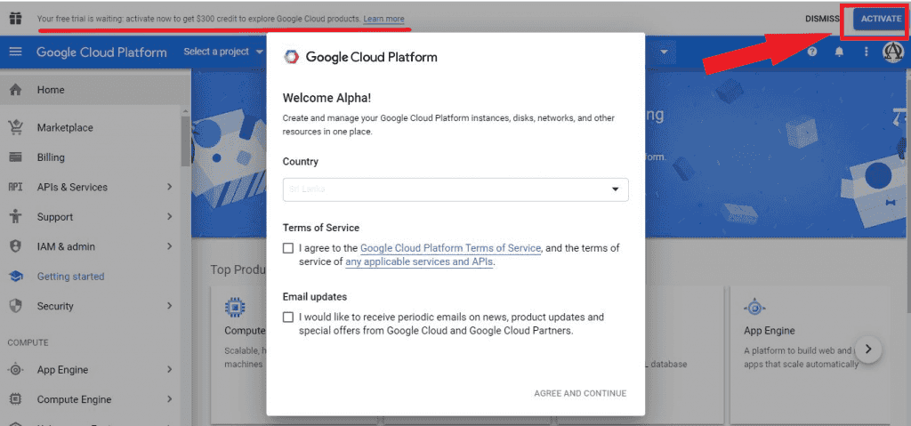 google cloud credit activation