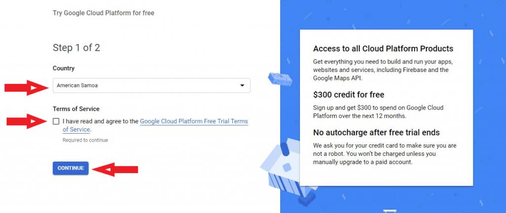 google cloud term of service