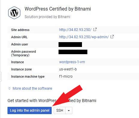 bitnami wordpress login