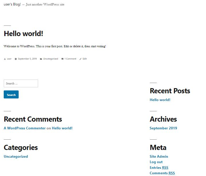 your first wordpress website